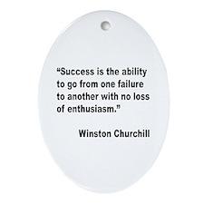 Churchill Success Quote Oval Ornament