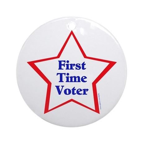 First Time Voter Star Ornament (Round)