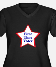 First Time Voter Star Women's Plus Size V-Neck Dar