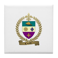 CARON Family Crest Tile Coaster