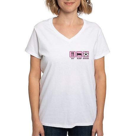 EAT SLEEP SOCCER (pink) Women's V-Neck T-Shirt