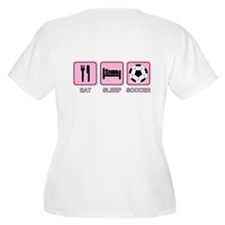 EAT SLEEP SOCCER (pink) T-Shirt