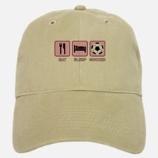 EAT SLEEP SOCCER (pink) Baseball Baseball Cap