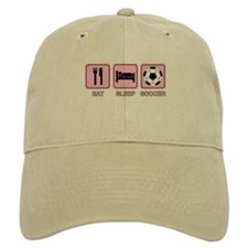 EAT SLEEP SOCCER (pink) Baseball Cap