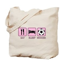 EAT SLEEP SOCCER (pink) Tote Bag