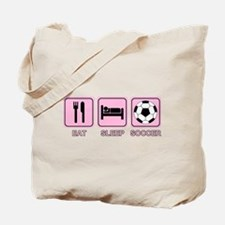 EAT SLEEP SOCCER (pink) Tote Bag