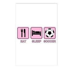 EAT SLEEP SOCCER (pink) Postcards (Package of 8)