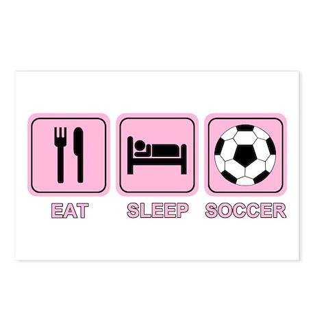EAT SLEEP SOCCER (pink) Postcards (Package of 8)