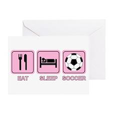 EAT SLEEP SOCCER (pink) Greeting Card