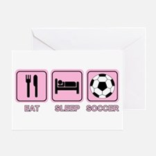 EAT SLEEP SOCCER (pink) Greeting Card