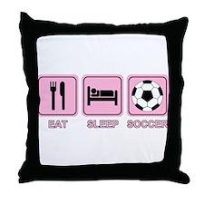 EAT SLEEP SOCCER (pink) Throw Pillow