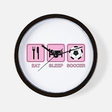 EAT SLEEP SOCCER (pink) Wall Clock