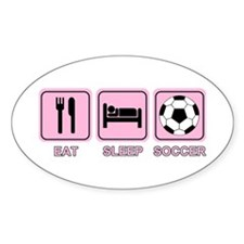 EAT SLEEP SOCCER (pink) Oval Decal