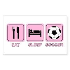 EAT SLEEP SOCCER (pink) Rectangle Decal
