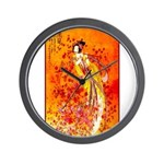 Japanese Geisha Playing the Flute Wall Clock