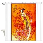 Japanese Geisha Playing the Flute Shower Curtain