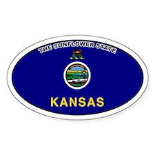 Kansas State Flag Oval Decal