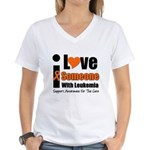 I Love Someone w/Leukemia Women's V-Neck T-Shirt