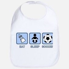 EAT SLEEP SOCCER (baby blue) Bib