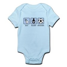 EAT SLEEP SOCCER (baby blue) Infant Bodysuit