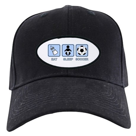 EAT SLEEP SOCCER (baby blue) Black Cap