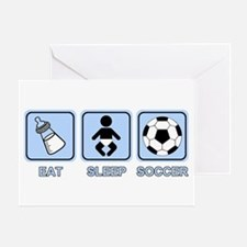 EAT SLEEP SOCCER (baby blue) Greeting Card