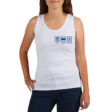 EAT SLEEP SOCCER (blue) Women's Tank Top