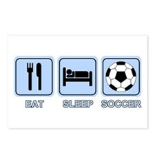 EAT SLEEP SOCCER (blue) Postcards (Package of 8)
