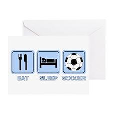 EAT SLEEP SOCCER (blue) Greeting Card
