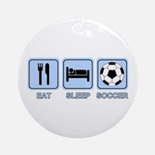 EAT SLEEP SOCCER (blue) Ornament (Round)