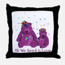Purple Love Bears Throw Pillow