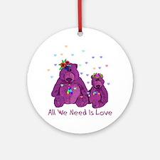 Purple Love Bears Ornament (Round)