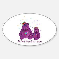 Purple Love Bears Oval Decal