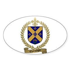 CHAMPAGNE Family Crest Oval Decal
