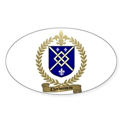 CHARBONNEAU Family Crest Oval Sticker