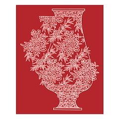 Asian Vase (Red) Unframed Print