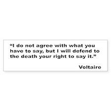Voltaire Free Speech Quote Bumper Bumper Sticker