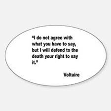 Voltaire Free Speech Quote Oval Decal