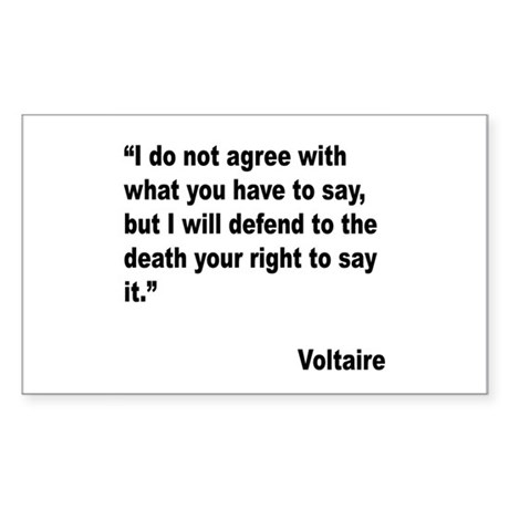 Voltaire Free Speech Quote Rectangle Sticker 10 p