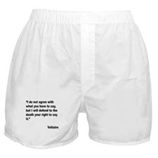 Voltaire Free Speech Quote Boxer Shorts