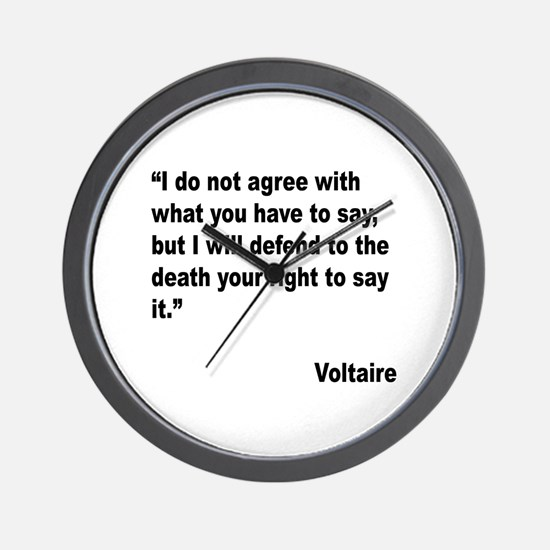 Voltaire Free Speech Quote Wall Clock