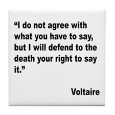 Voltaire Free Speech Quote Tile Coaster