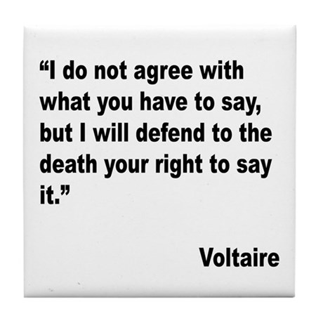 Voltaire Free Speech Quote Tile Coaster