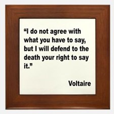 Voltaire Free Speech Quote Framed Tile