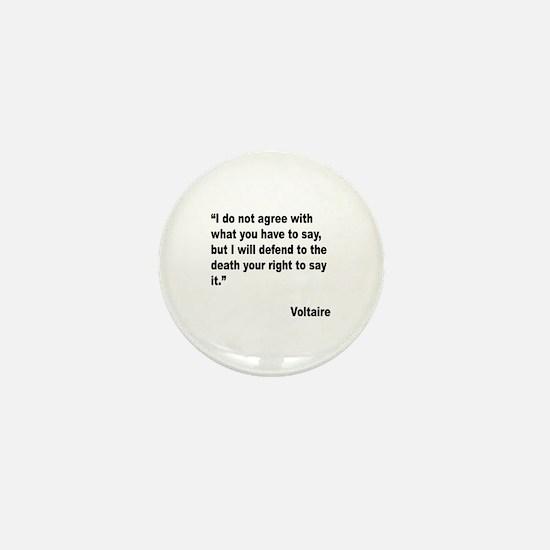 Voltaire Free Speech Quote Mini Button
