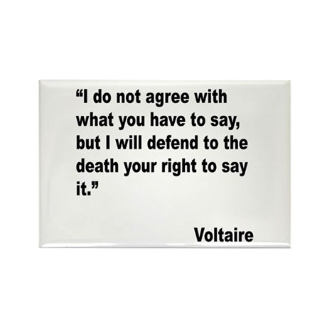 Voltaire Free Speech Quote Rectangle Magnet (10 pa