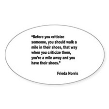 Norris Criticism Quote Oval Decal