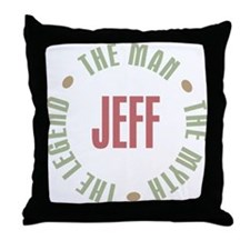 Jeff Man Myth Legend Throw Pillow
