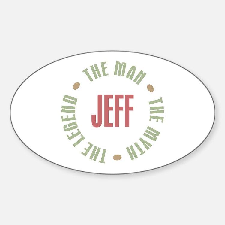 Jeff Man Myth Legend Oval Decal