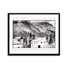 Swiss Alpine Town Framed Panel Print